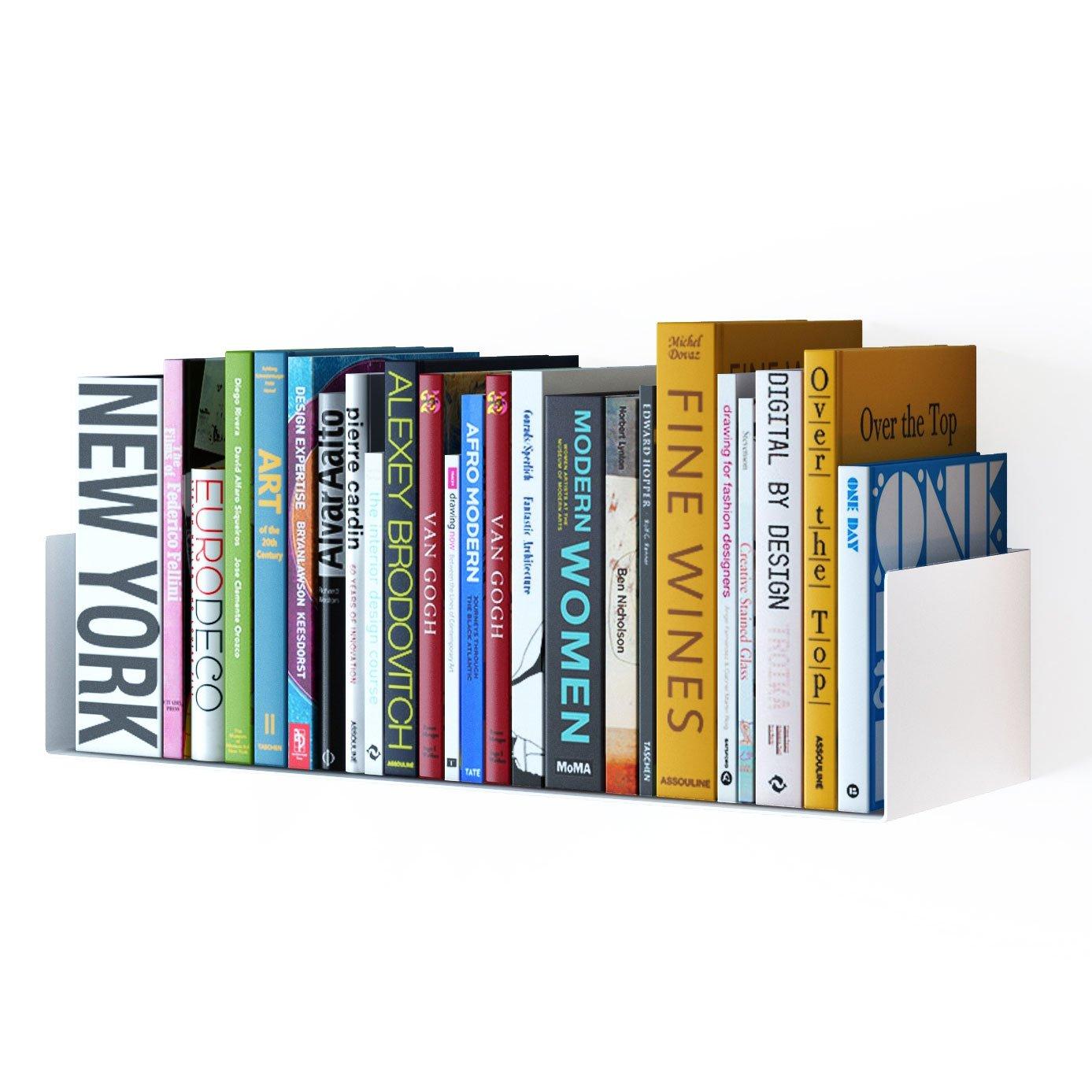 Wallniture Bali Sturdy Metal U Shape Bookshelf - Wall Mountable CD DVD Storage Multi-Purpose Display Rack in White