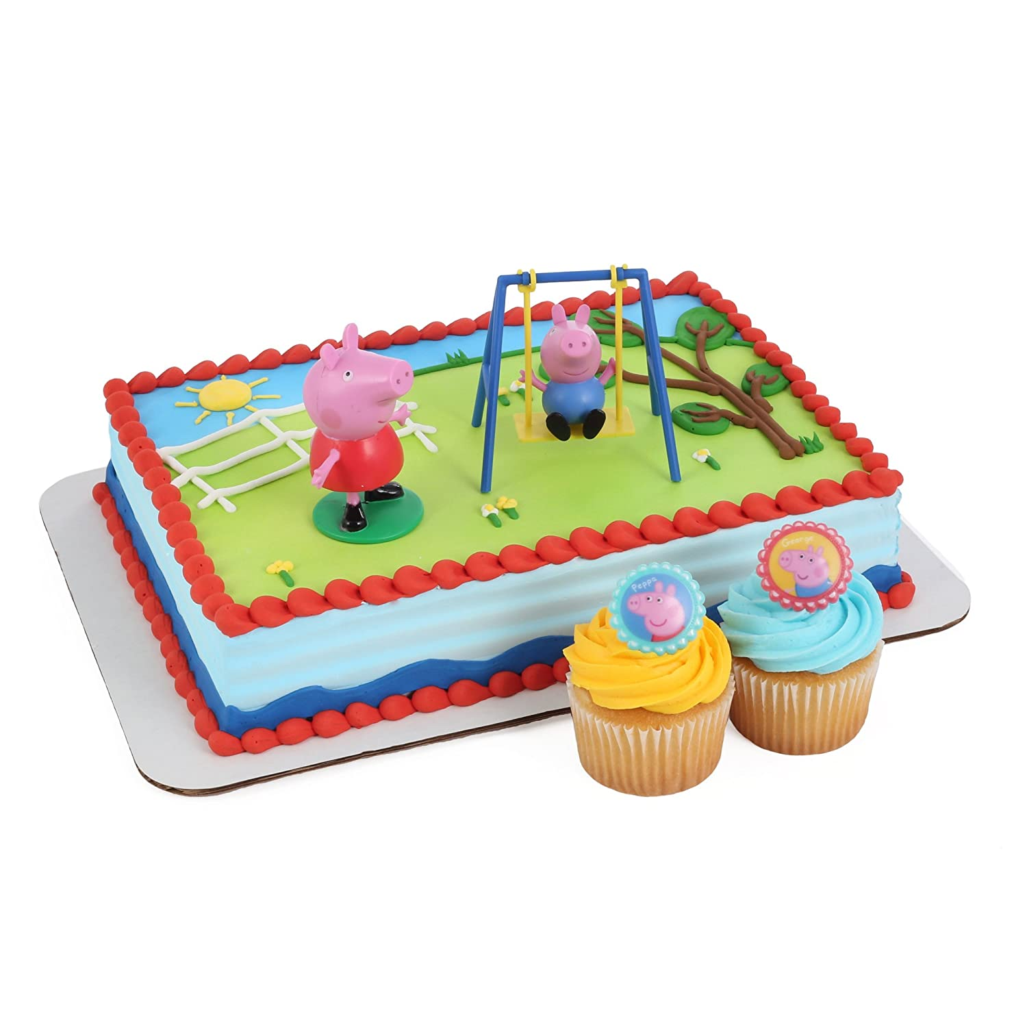 amazon com peppa pig cake kit and 24 cupcake topper rings toys
