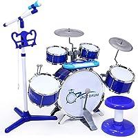 SGILE Juguete de Juego de Tambor de Piano, Tambor de Rock con Juego de Teclado para Niños Niñas, Instrumento de Tambor de Piano Musical Eléctrico y Taburete, Audio con Teléfono MP3 iPad, Azul