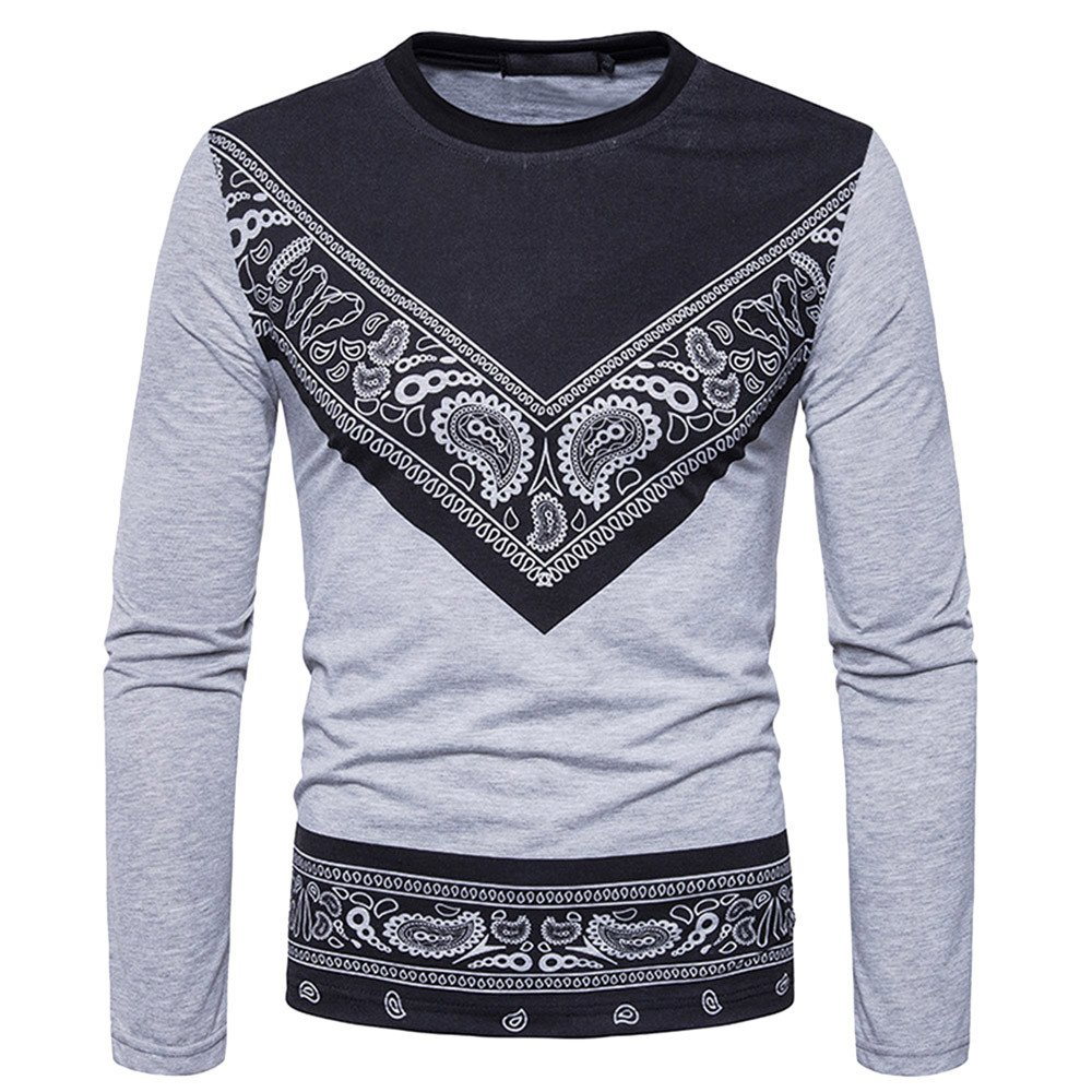 Realdo Mens T-Shirt Clearance Sale, Dashiki West African Paisley Print Pullover Tops
