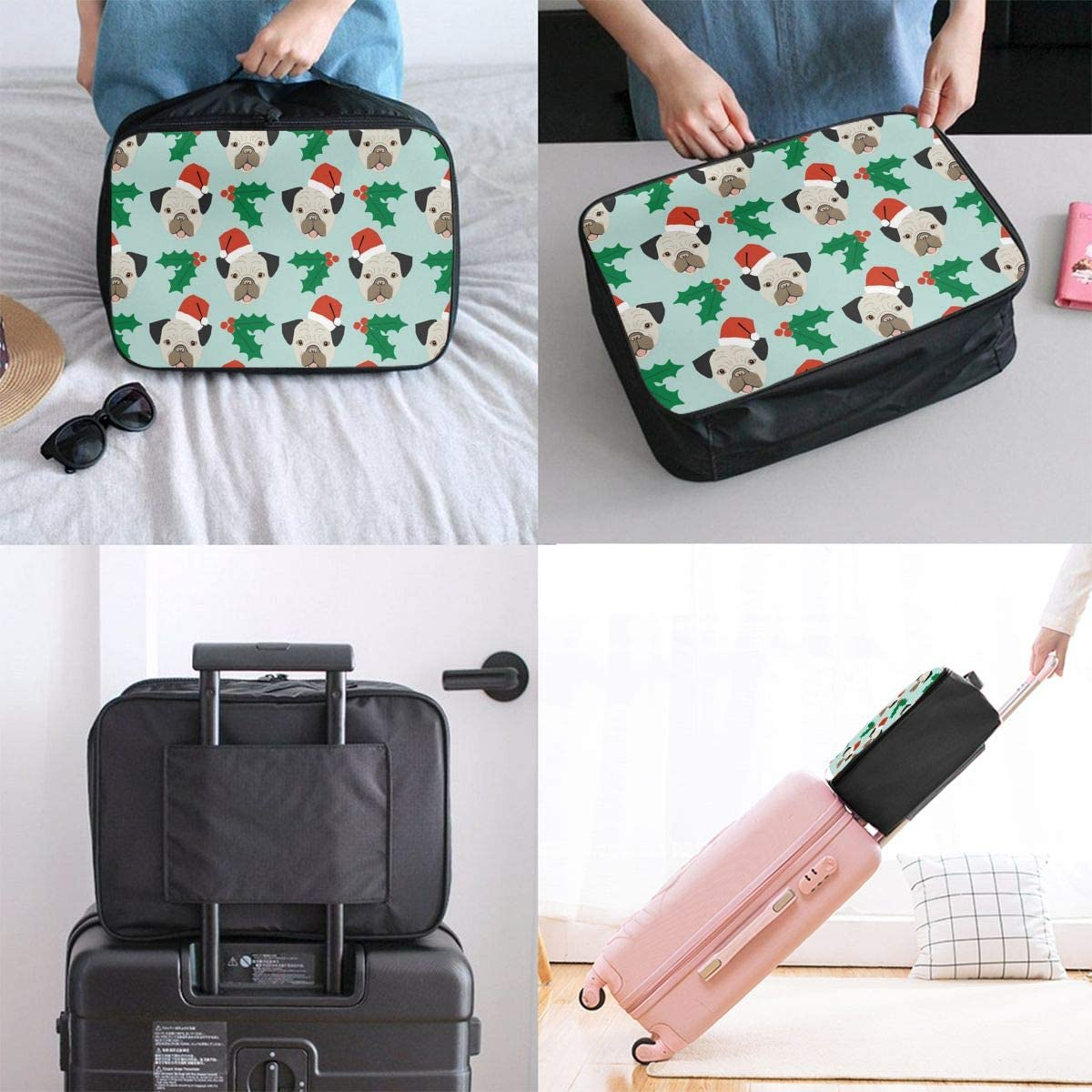 Camper Flamingo Travel Carry-on Luggage Weekender Bag Overnight Tote Flight Duffel In Trolley Handle