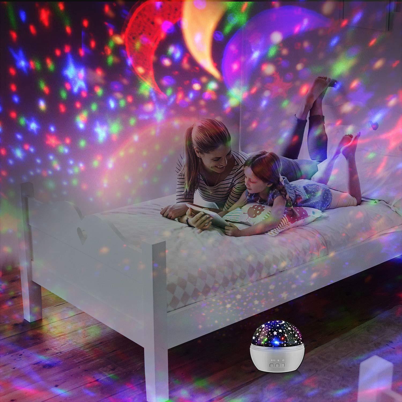 Proyector L/ámpara Estrellas Luz de Noche Powcan Rom/ántica Noche Estrellada L/ámpara para Proyector de Luz para Fiesta en casa Cumplea/ños Decoraciones Luces Ni/ños Juguetes Regalo negro