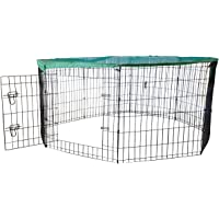 Cool Runners Wire X Pen with Sun/Rain Security Cover and Gate (24-Inchs High x 24-Inchs Wide Per Section)
