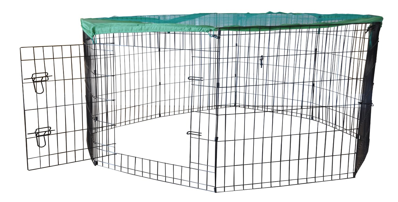 24 H x 24 W x 60 D Cool Runners Wire X Pen with Sun Rain Security Covers and Gate (36Inchs High x 24Inchs Wide Per Section)
