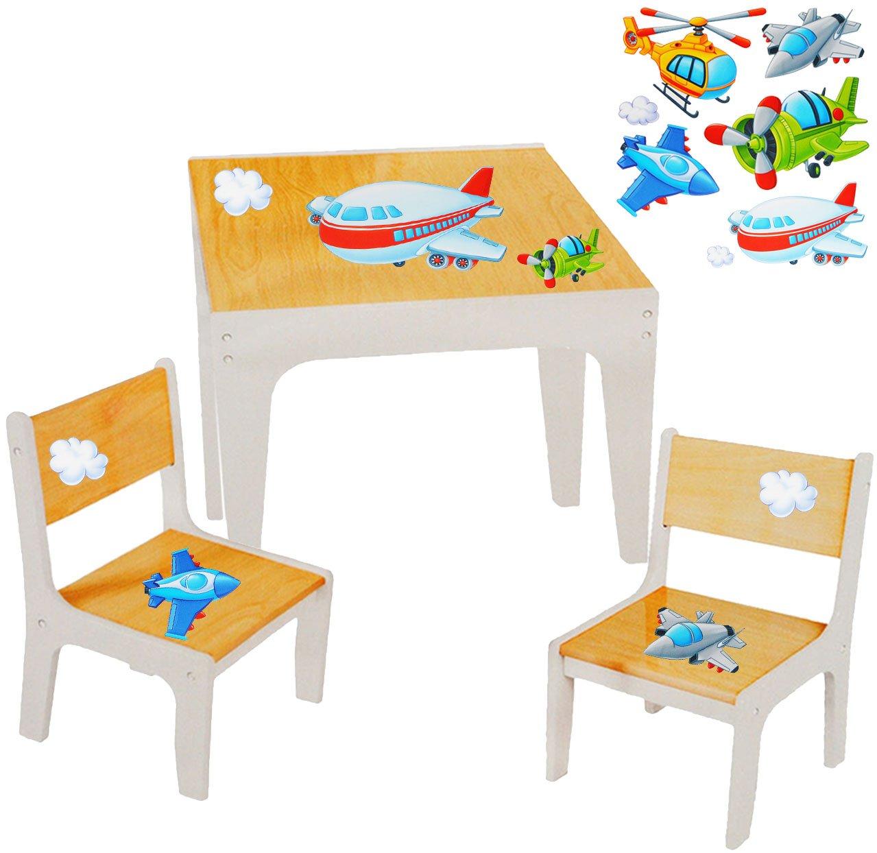 Unbekannt 3 TLG. Set: Sitzgruppe / Sitzgarnitur für Kinder - sehr stabiles Holz -  Flugzeuge & Helikopter  - Tisch + 2 Stühle / Kindermöbel für Jungen & Mädchen - Kin..