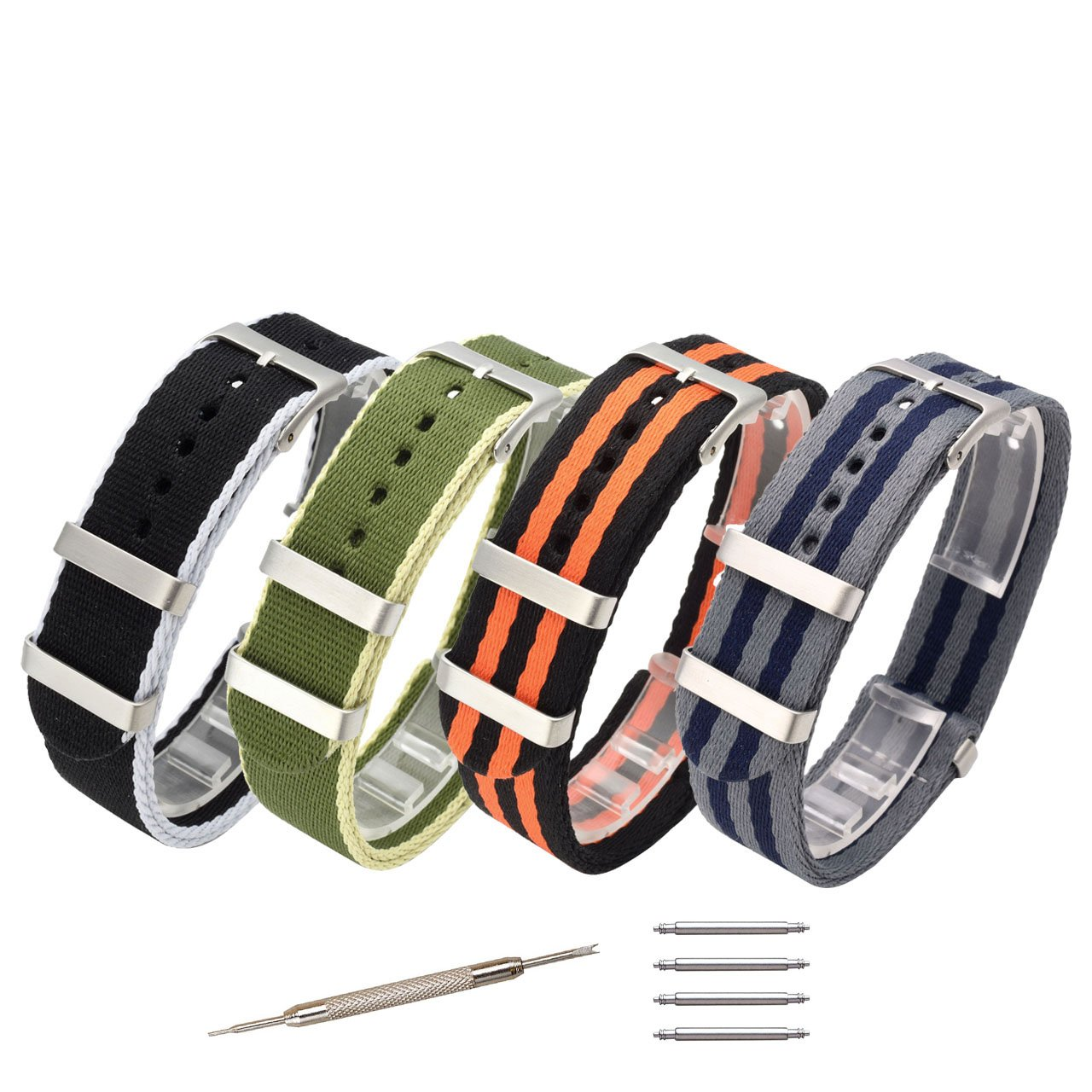 Top Plaza 20mm NATO Nylon Watch Band, Quick Release Premium Ballistic Nylon Straps, Replacement Wristband with Adjustable Metal Clasp for Men Women - Pack of 4#2