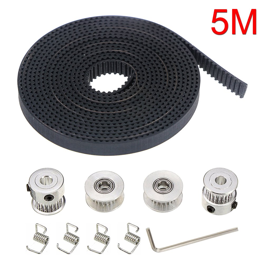 HONG111 5M GT2 Rubber Opening Timing Belt Bandwidth 6mm + 2Pcs 20 Teeth Aluminum Timing Pulley Wheel Bore 5mm + 2Pcs 20 Teeth GT2 Pulley Idler + 4pcs Belt Locking Spring + Wrench for 3D printer RepRap