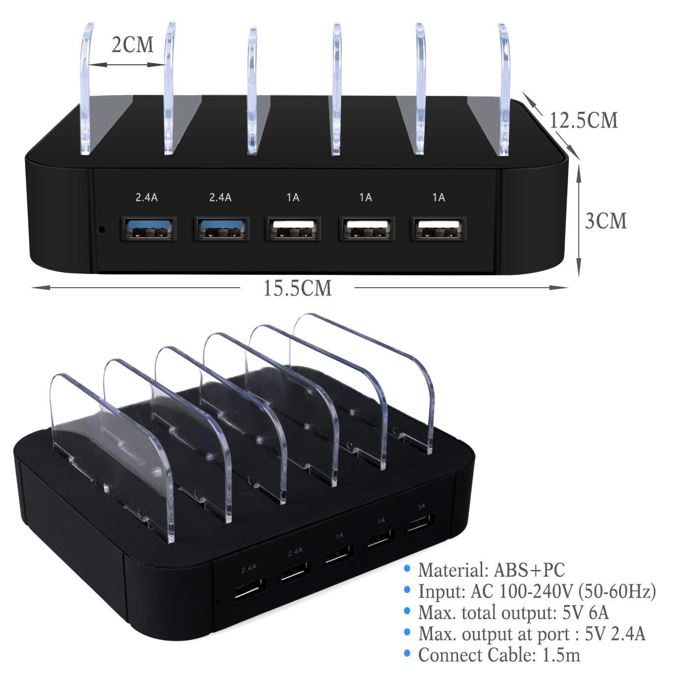 AcTopp USB Ladestation Multiport USB Universal Dockingstation Ladegerät Ladedock 5 Ports USB Ladestation gehostete Desktop Ladestation Ladeeinrichtung für Handys Tablets Kindle