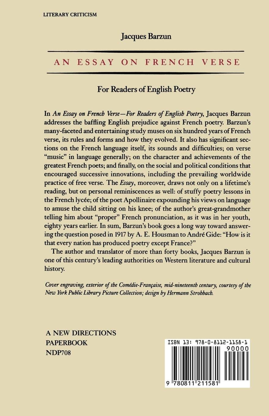 Amazoncom An Essay On French Verse For Readers Of English Poetry  Amazoncom An Essay On French Verse For Readers Of English Poetry   Jacques Barzun Books