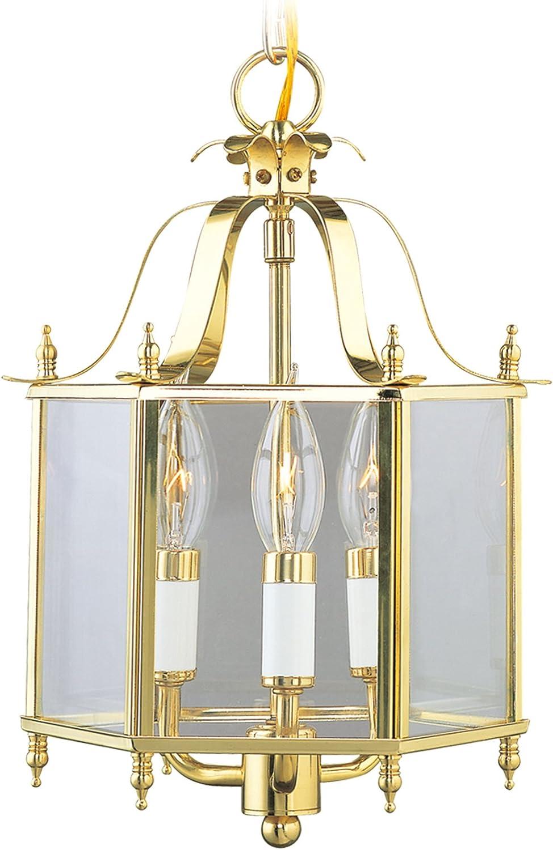 Livex Lighting 4403-02 Home Basics 3 Light Polished Brass Hanging Lantern or Flush Mount Chandelier with Clear Beveled Glass
