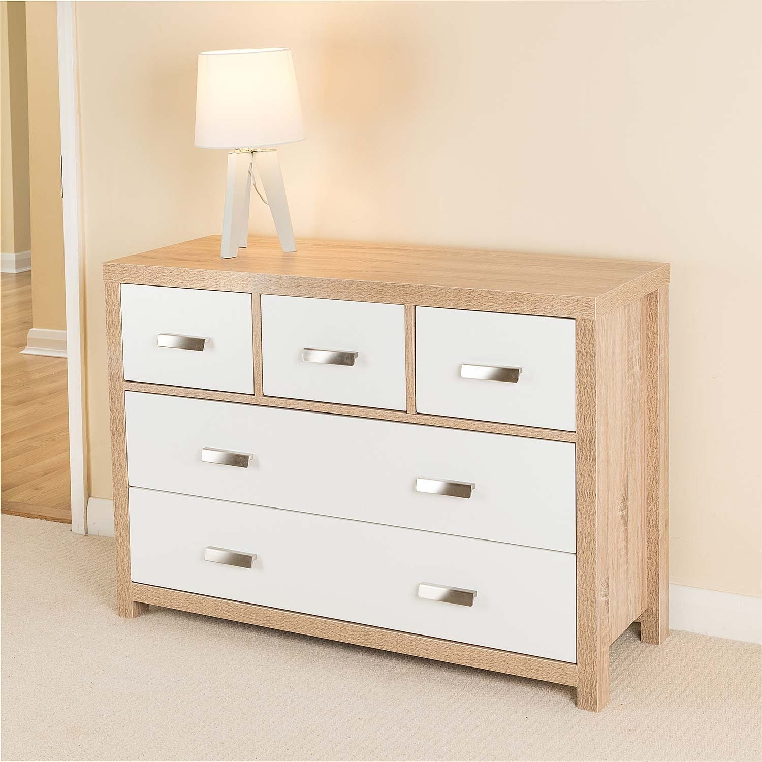 5 Draw Oak Effect Chest of Drawers w/Modern White Wood Design Bianco