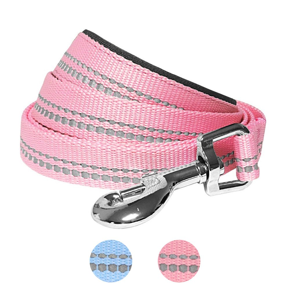 Blueberry Pet 2 Colors 3M Reflective Pastel Color Dog Leash with Soft & Comfortable Handle, 5 ft x 3/4'', Baby Pink, Medium, Leashes for Dogs