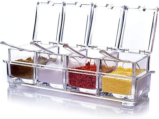 cristal Juego de caja de condimentos para condimentos de casa botellas utensilios de cocina Ink Green Seasoning Box Set 15-piece Set botellas salero