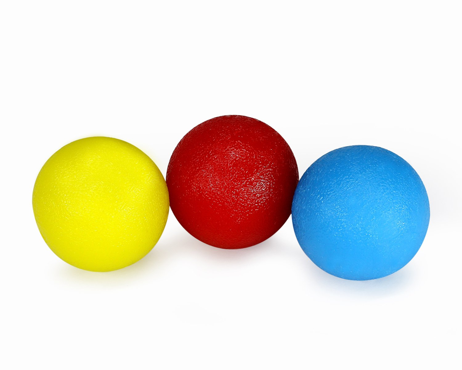 Yes4All Rubber Hand Therapy Exercise Ball Kit - Pack 3 - Yellow + Red + Blue - ²8GT3Z