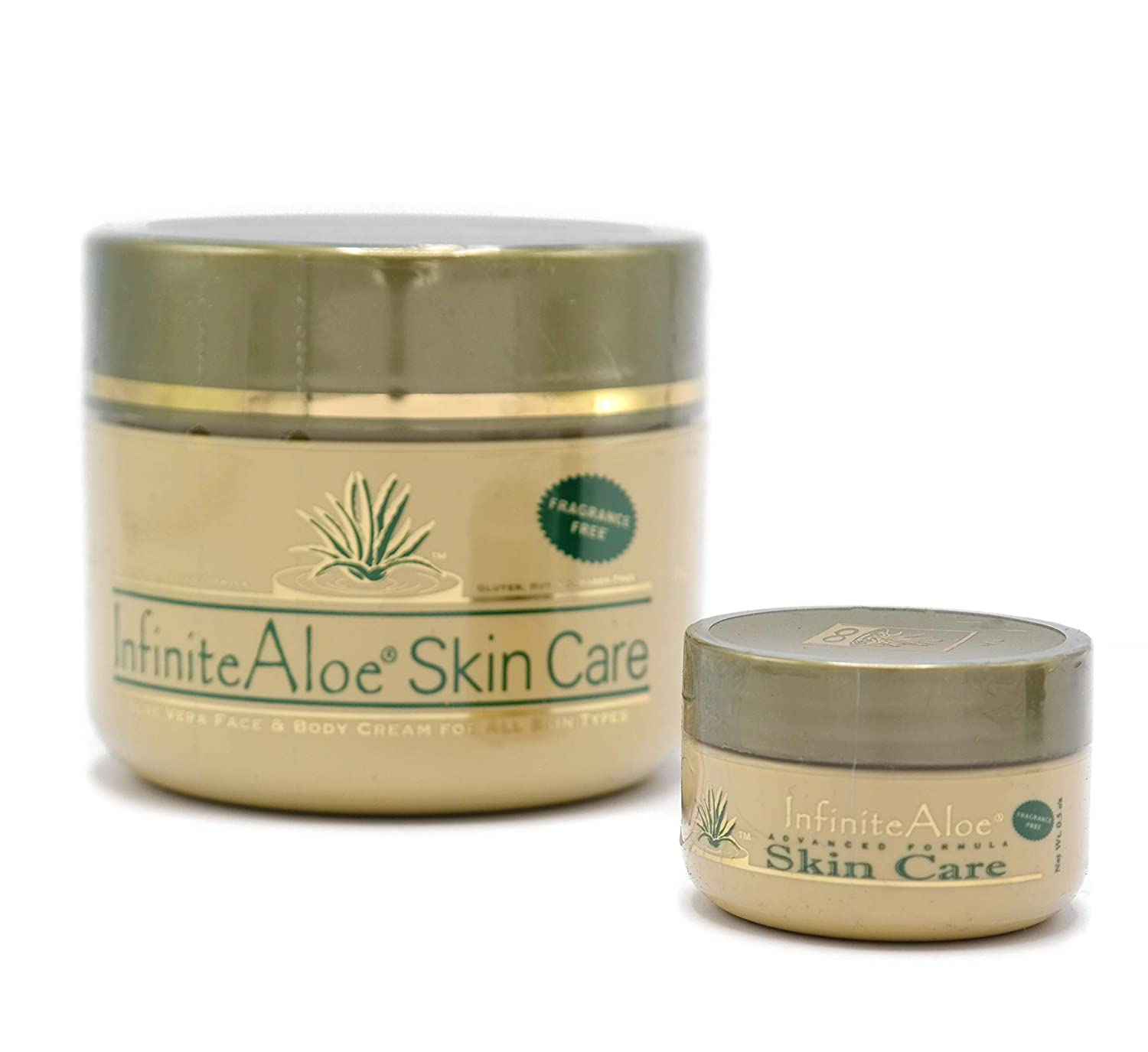 Infinite Aloe Skin Care Cream, Fragrance Free, 8oz. Jar (Plus a Bonus 0.5 oz InfiniteAloe Travel Jar)