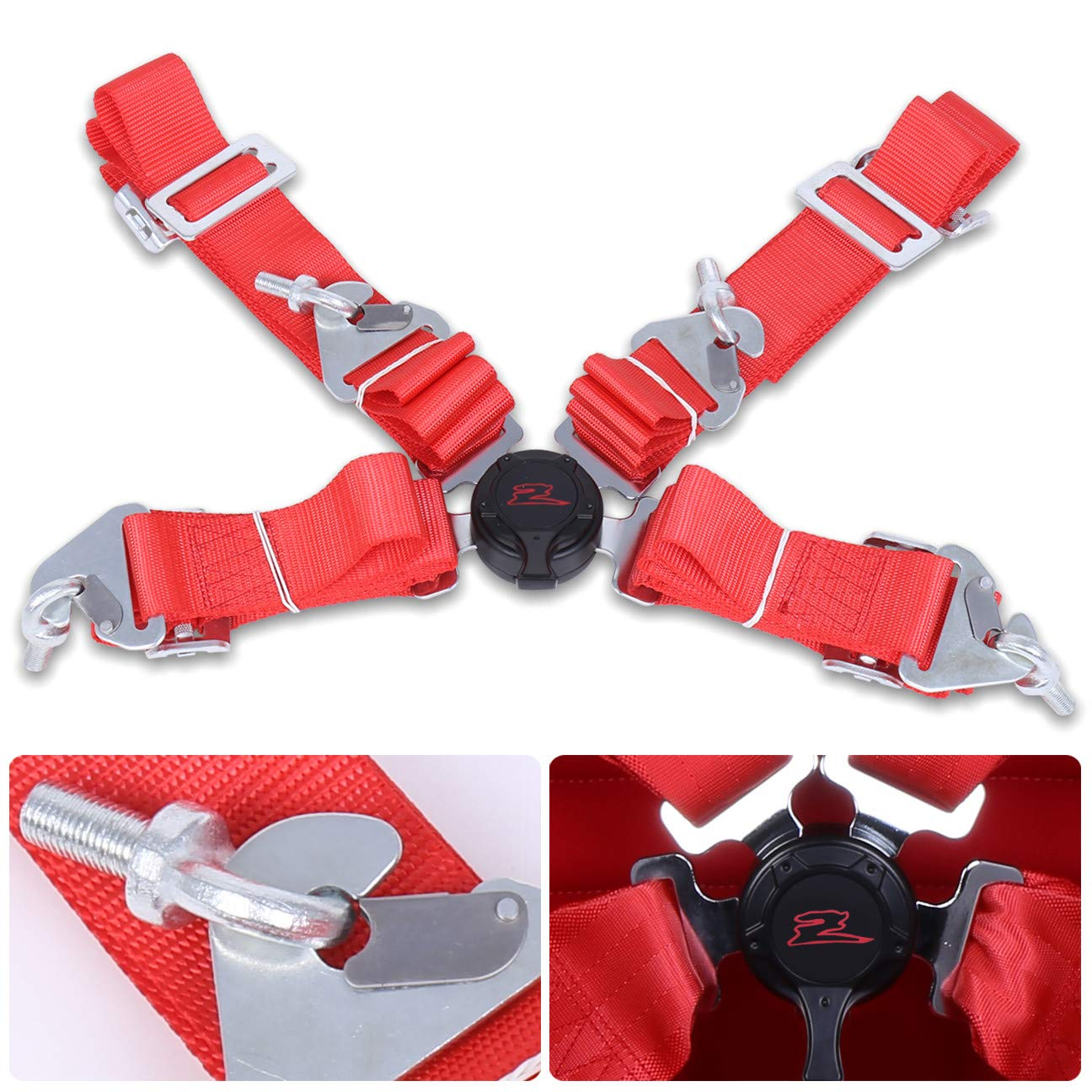 AJP Distributors Red Safety 4-Point 2'' Strap Nylon Camlock Center Seatbelt Upgrade Replacement Performance Track Drag Drift Off-Road Wide