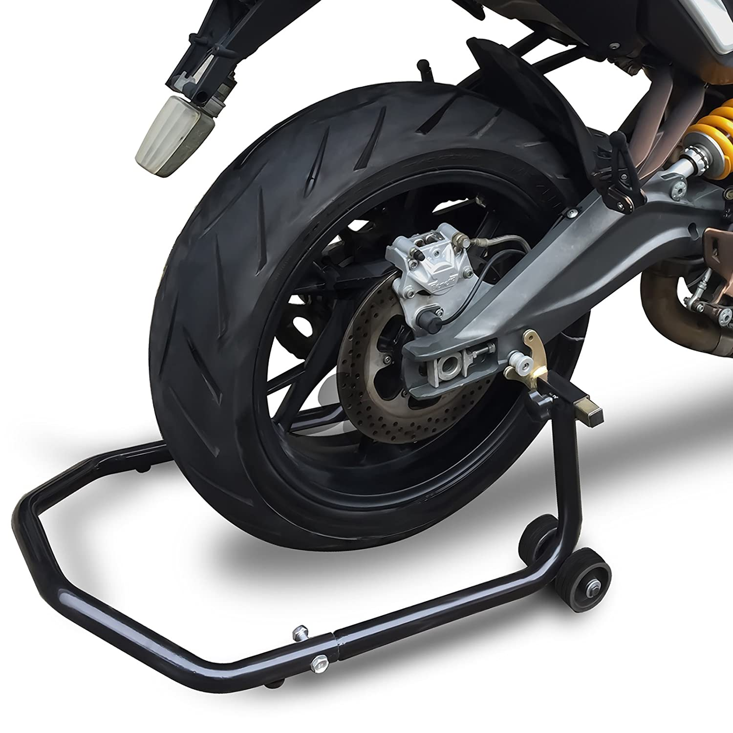 Motorcycle Stand Lift Jack Stands Front or Rear Paddock Wheel Lifts Motor-Cycles Sports-Bike Motor-Bike Street-Bike Spool Center Tire Chock Maintenance Accessories 2-in-1 Universal Fork /& Swing-Arm