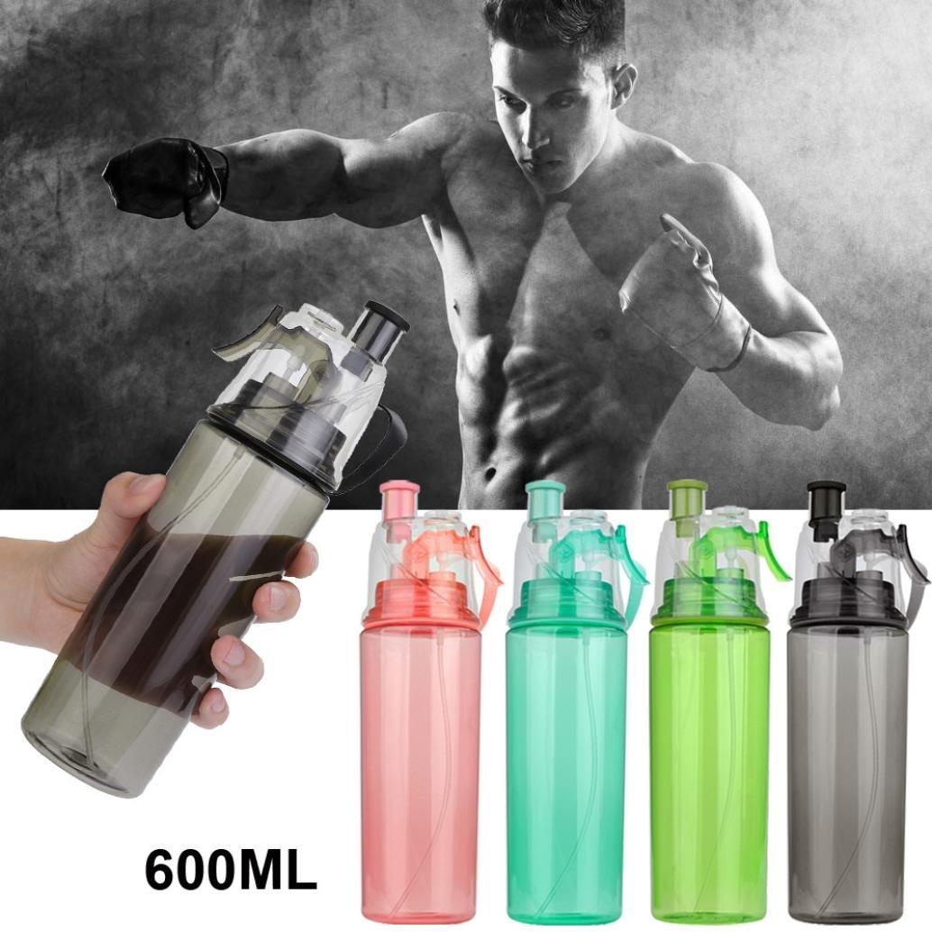 Water Bottle for Men and Women, Iuhan 21 OZ Sport Cycling Mist Spray Water Gym Beach Bottle Leak-proof Drinking Cup (Black)