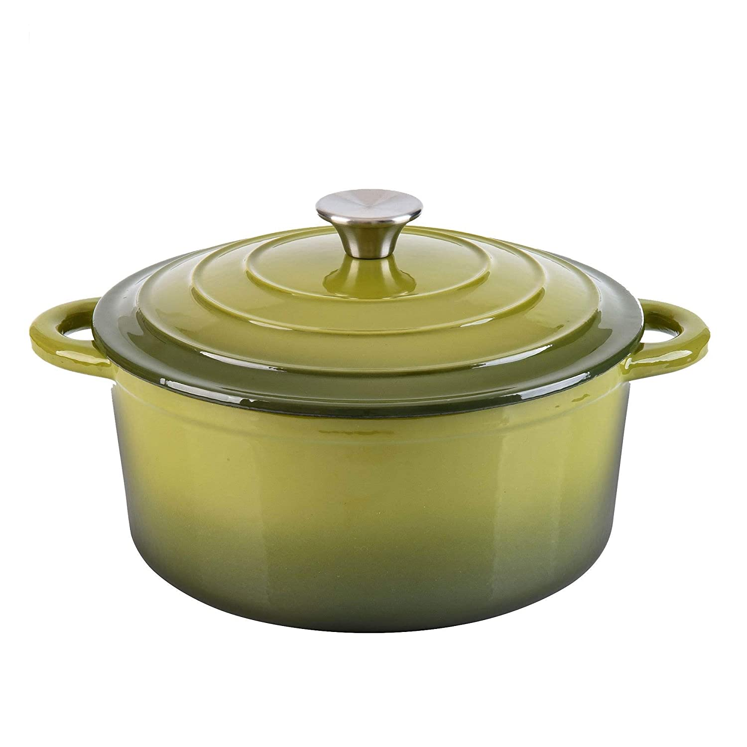 Green Hamilton Beach 5.5 Quart Enameled Cast Iron Covered Round Dutch Oven Pot