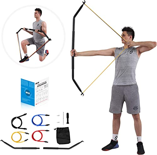 IRON AGE Resistance Band Training Bow Two-Piece Versatile Home Gym Full Body Workout Equipment – Idea for Preacher Curls, Tricep Push Downs, Weightlifting, Rows, Pulldown – Come with 4 Bands 10, 20