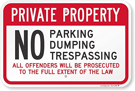 """NO PARKING Private Property Metal Sign 8x10/"""" Access Business Premises Safety #34"""