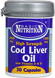 Basic Nutrition 1000 Mg Cod Liver Oil, 30 Capsules
