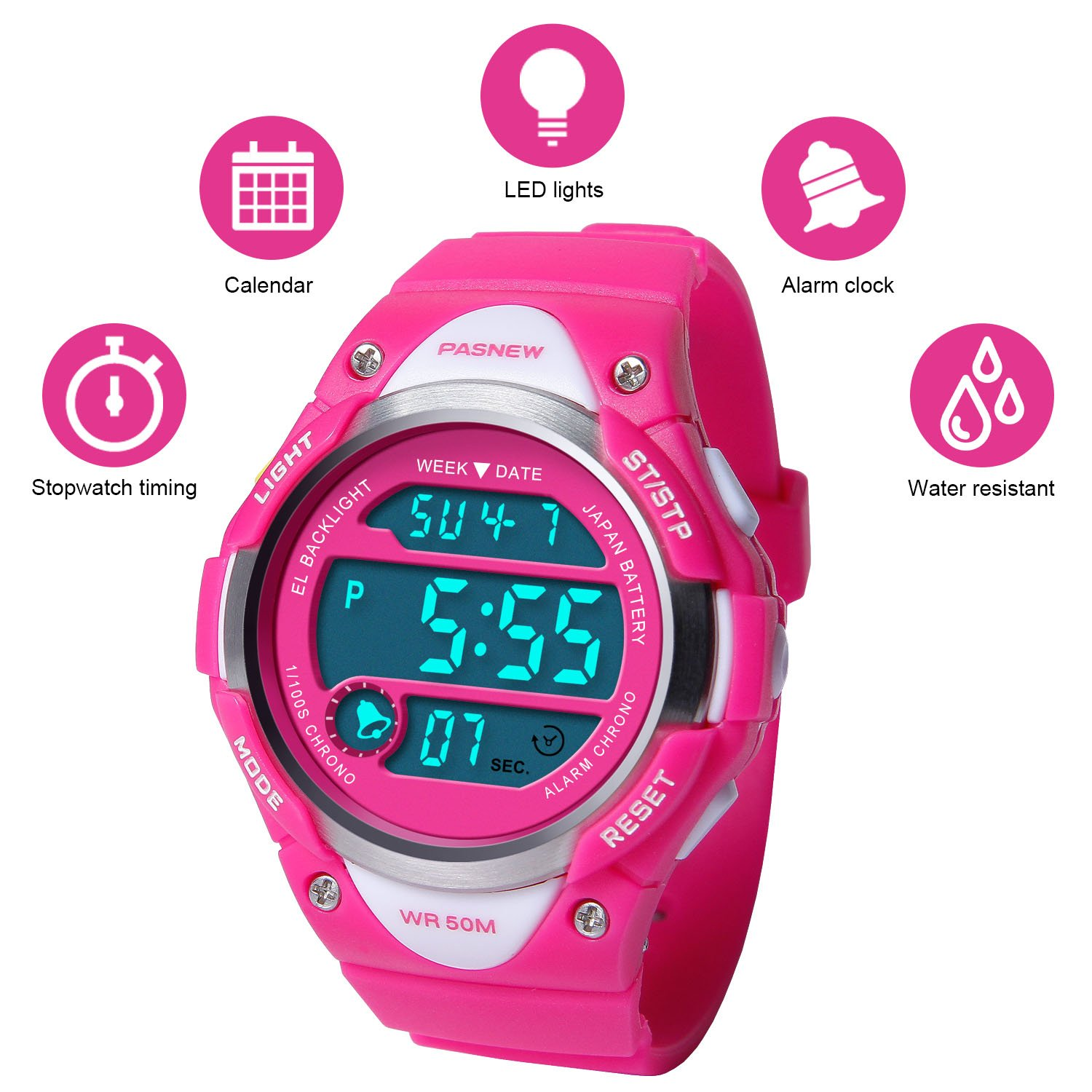 HIwatch Kids Sport Watch Water-resistant Swimming LED Digital Watch with Alarm Back Light Stopwatch for Boys Girls 7+ Years Old Pink, for Kids Children