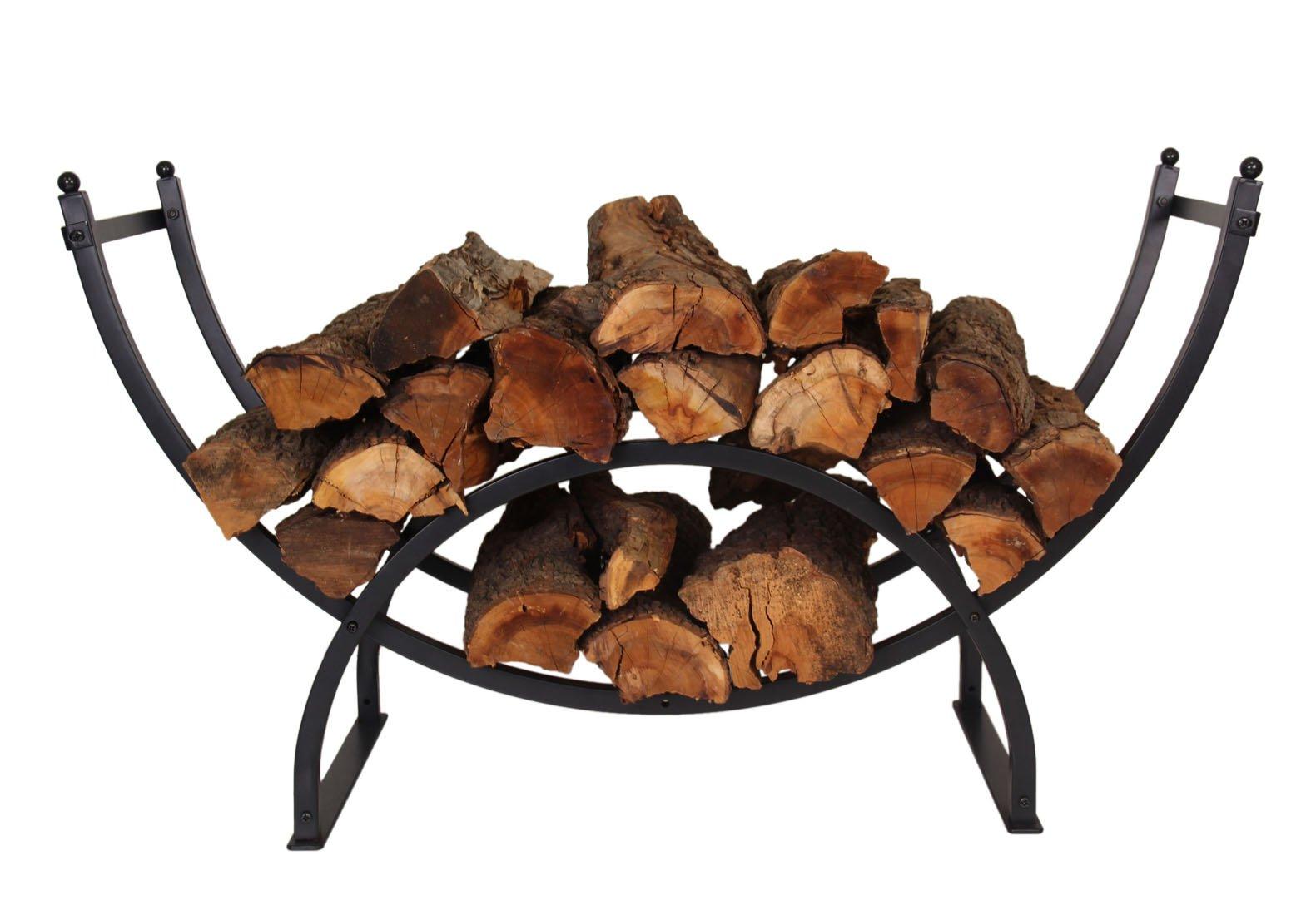 Patio Watcher 3-Foot Curved Firewood Rack Log Rack Firewood Storage Log Holder Indoor Outdoor Backyard Fireplace, Heavy Duty Steel Black