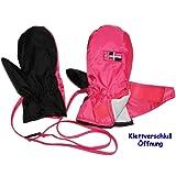 """Thermo Handschuhe mit langem Schaft + Klettverschluß - """" pink rosa """" - Größen: 2 bis 3 Jahre - LEICHT anzuziehen - Baby - gefüttert Thermohandschuh - Fausthandschuh Handschuhe - Thinsulate - wasserfest & atmungsaktiv - Baumwoll Futter"""