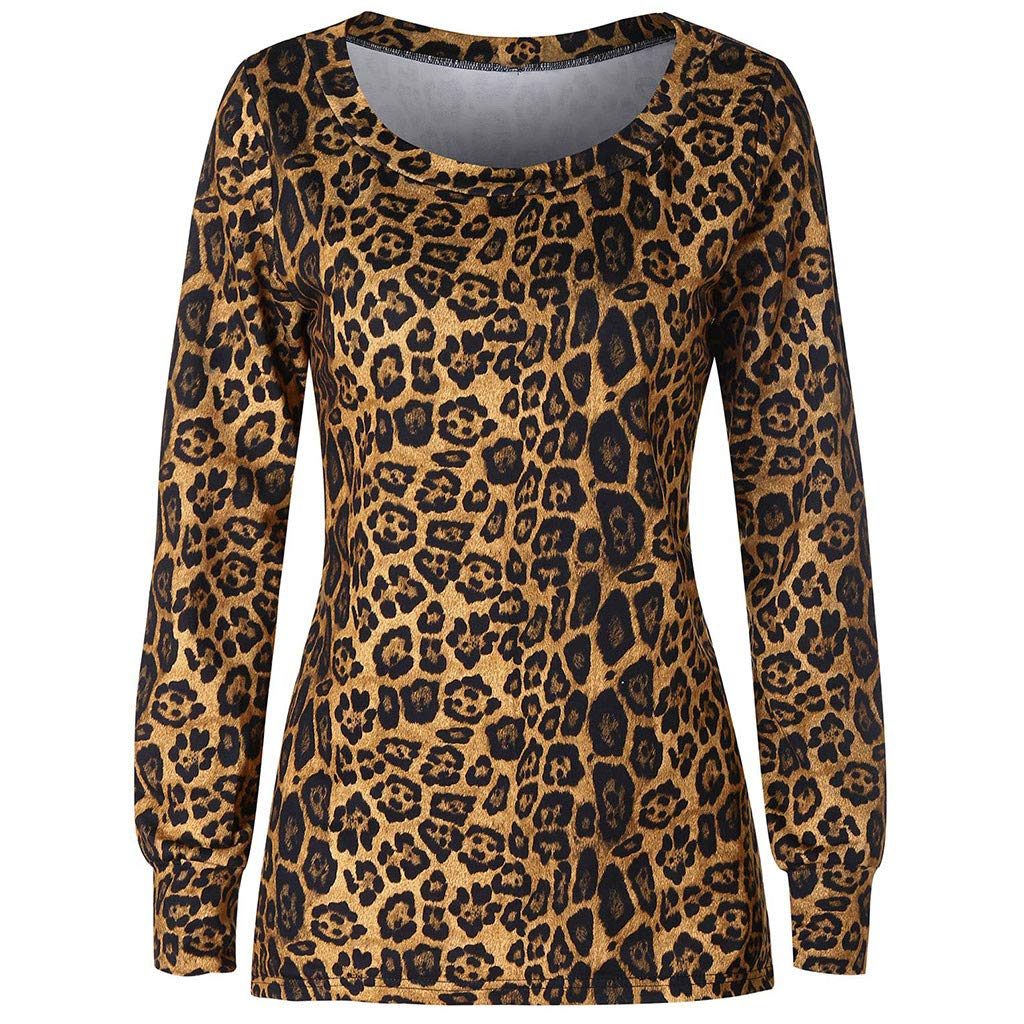 RTYou Women Tops Womens Leopard Print Top Round Neck Long Sleeve Contrast Blouse