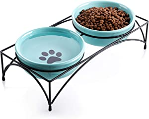 Y YHY Cat Bowls,Cat Food Bowls Elevated, Raised Cat Bowls for Food and Water, Ceramic Pet Bowls for Indoor Cats or Dogs, Protect Pet's Spine,Dishwasher Safe,12 Ounces