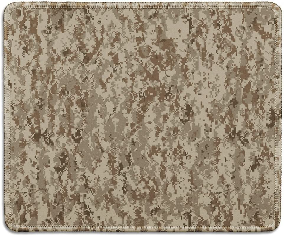 dealzEpic - Art Mousepad - Natural Rubber Mouse Pad Printed with Military Uniform Desert Camouflage Pattern - Stitched Edges - 9.5x7.9 inches