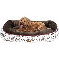 Bedsure Cama Perro Pequeño Navidad M - Colchon Perro Lavable con Patrón de Reno Navideño de Felpa Muy Suave, Sofá de…
