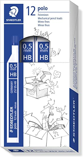 STAEDTLER 257 0.5 HB - Caja de Minas, 12 Tubos con 12 Minas Cada Tubo: Amazon.es: Oficina y papelería