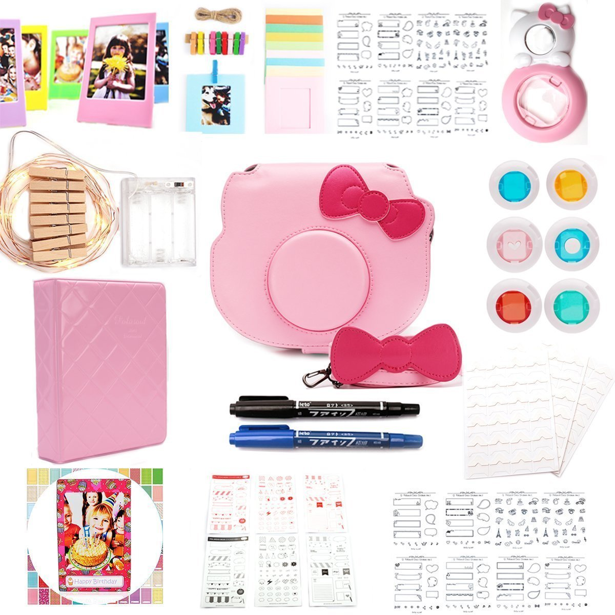 HelloHelio-Fujifilm Instax Mini Hellokitty Instant Film Camera 15-in-1[premium Pack] Accessories Bundles -Pink HK-15PINK-1