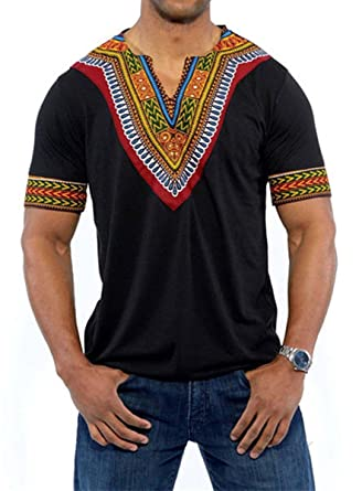 1a2a441cf Amazon.com: Huiyuzhi Men's African Print Dashiki T-Shirt Summer ...