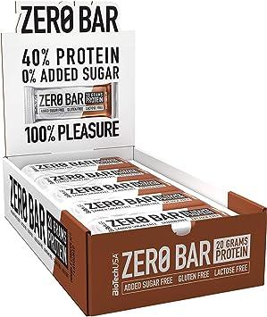 BioTechUSA Zero Bar Barrita de proteínas con alto contenido proteico, sin azúcar añadido o aspartamo, libre de lactosa y gluten, con edulcorantes, 20 ...