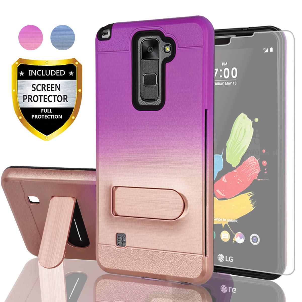 AYMECL LG Stylo 2 Case,LG Stylo 2 V Case,LG Stylo 2 Plus/LG Stylus 2 Plus  Case with HD Screen Protector,[Card Slot Holder] Plastic TPU Mixed Gradient