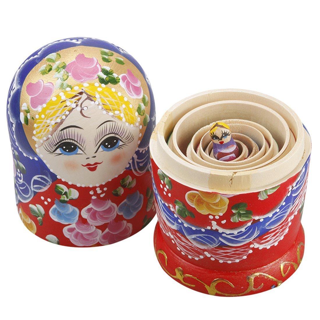 Youbedo 7pcs Blue Flower Madness Nesting Dolls Authentic Russian Wooden Matryoshka by Youbedo