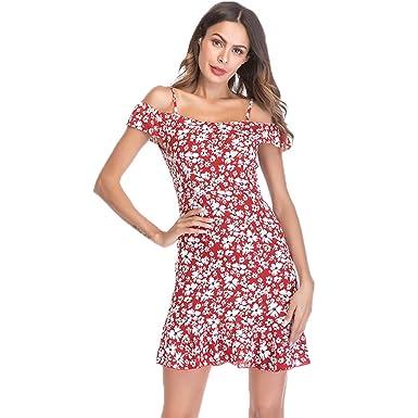 brand new 7344e ae53d YAMEE Damen Boho Kleid Strandkleider Kurz Schulterfrei Minikleid  Sommerkleider V-Ausschnitt Chiffon mit Volants