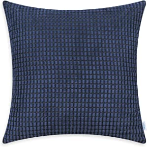 CaliTime Cozy Throw Pillow Cover Case for Couch Sofa Bed Comfortable Supersoft Corduroy Corn Striped Both Sides 16 X 16 Inches Navy Blue
