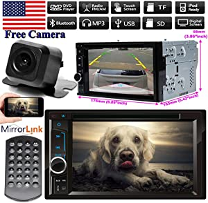 Double Din Car Stereo with Backup Camera, 6.2 Inch DVD Player for 2004-2007 Nissan Armada Titan Bluetooth Radio HD Touch Screen, Mirror Link (iOS & Android) AM/FM Aux In