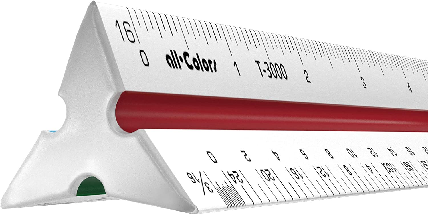 "12"" Architect Scale Ruler Imperial Solid Aluminum Body Color-Coded Grooves - Professional Architectural Scale Ruler - Ideal for Architects Engineers Draftsman and Students"