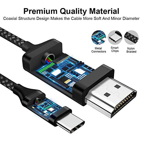 Amazon.com: USB C to HDMI Cable 6.6ft [4K@60Hz], JSAUX USB 3.1 Type C to HDMI Cable Compatible for MacBook Pro, iMac, PixelBook, Surface Book 2, ...