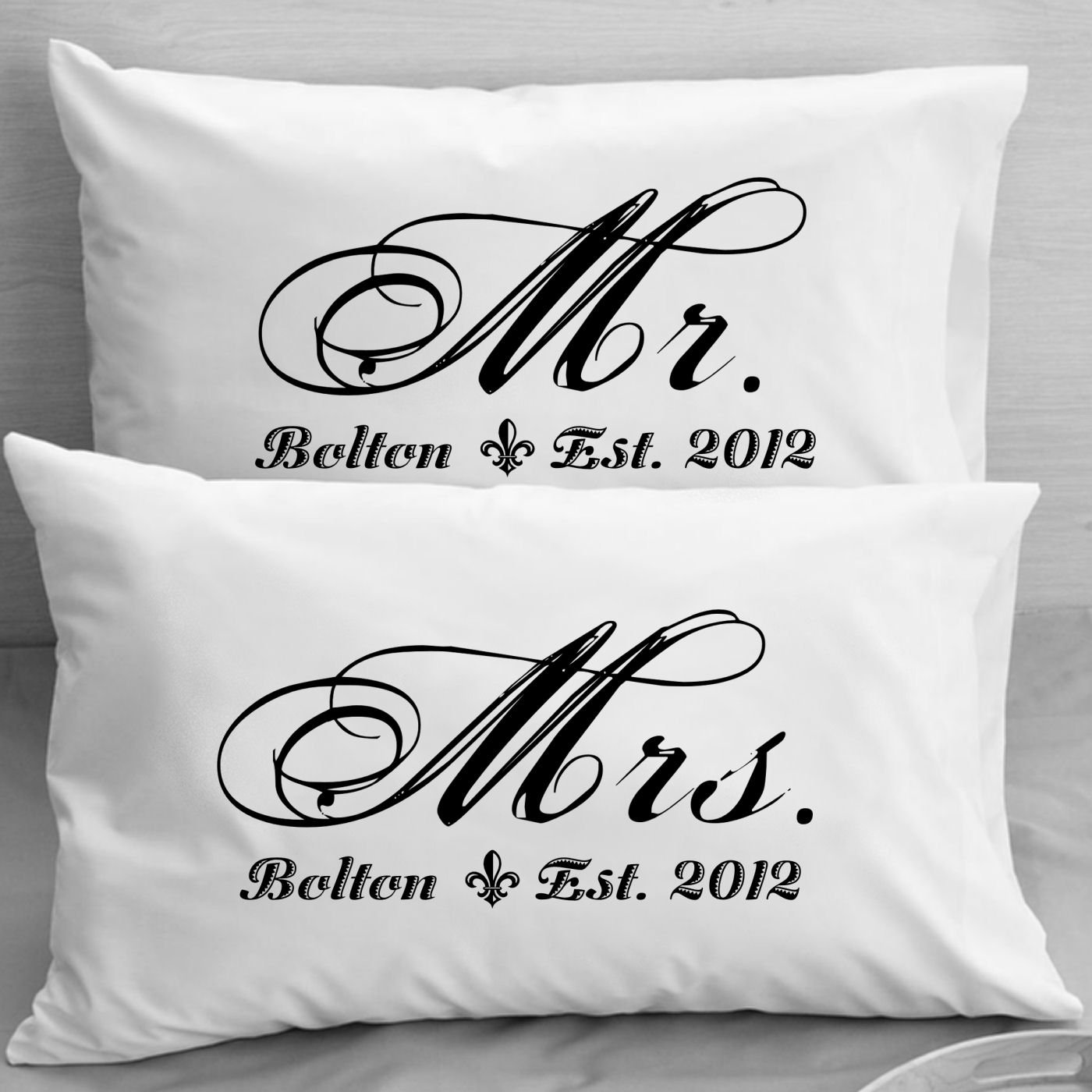 Mr And MRS Pillowcases Personalized Wedding Gift Anniversary Romantic Idea For Couples Amazoncouk Kitchen Home