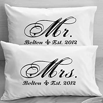 Mr And MRS Pillowcases Personalized Wedding Gift Anniversary Romantic Idea For Couples