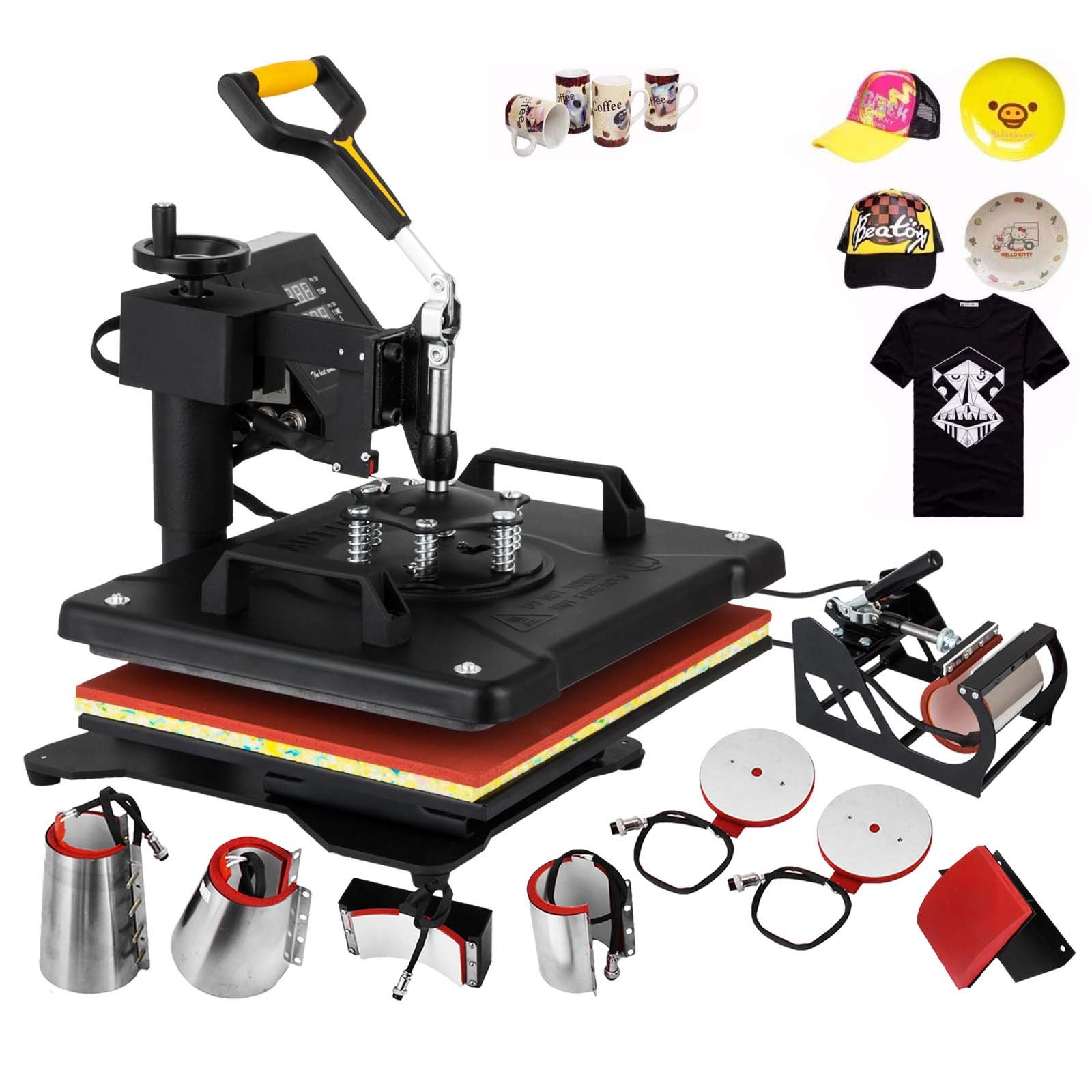 VEVOR Heat Press Machine 15x15Inch Combo Heat Press Transfer Machine with Multifunctional Digital Cap Press Cup Press Plate Press 8IN1 T-Shirt Heat Press Machine