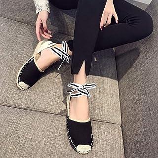 YOPAIYA Espadrilles Chaussures De Pêcheur Sandales À Bout Rond Noir en Toile Femmes Bride À La Cheville GladiateurTalon Plat Sandales en Corde De Paille Espadrilles À Rayures Femme
