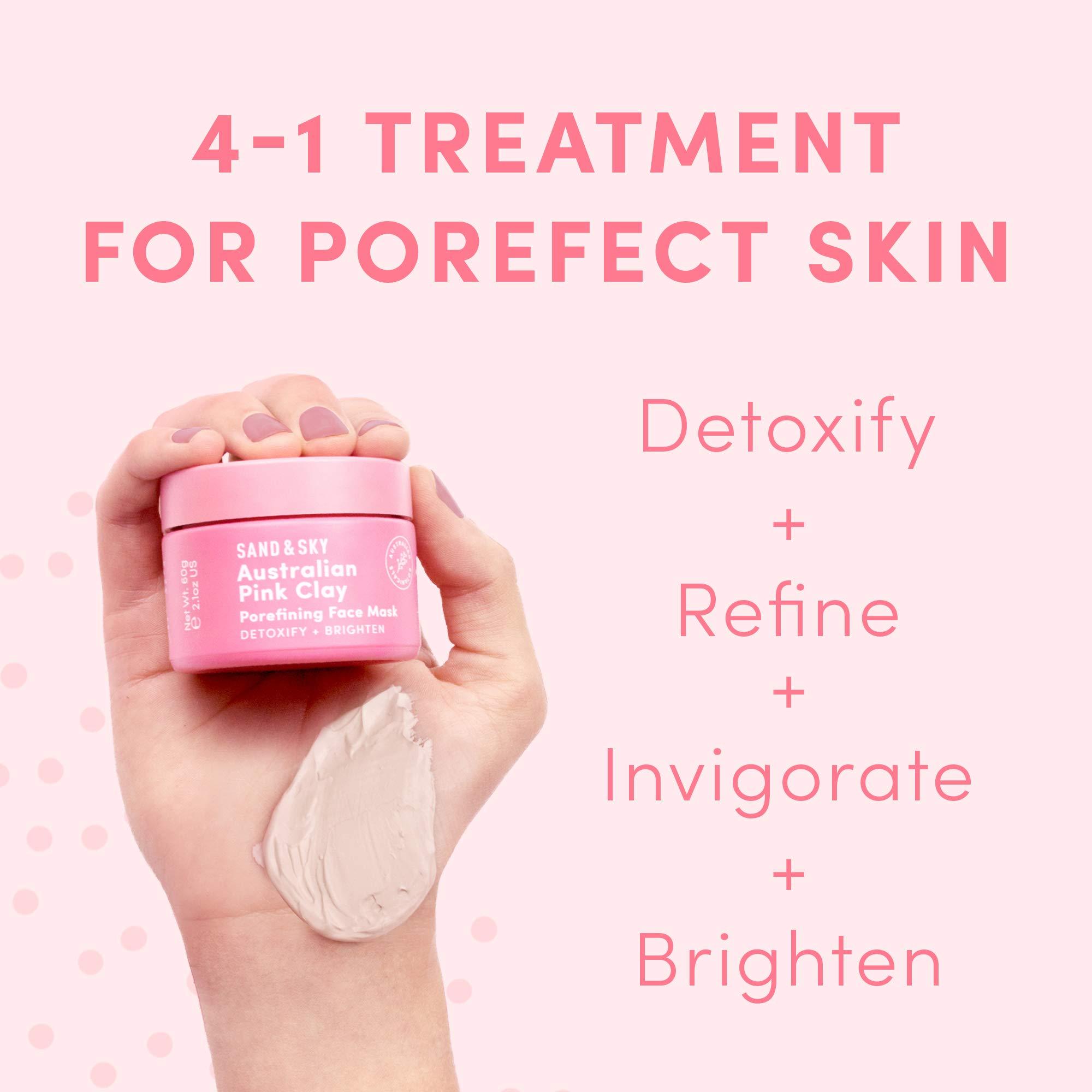 Sand & Sky Australian Pink Clay Porefining Face Mask Skin Care | Pore Minimizer With Face Mask Brush Applicator