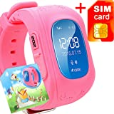 GBD GPS Tracker Smart Watch for Kids with Sim Card Smartwatch Phone Anti-lost Finder SOS Gprs Children Fitness Tracker Wrist Watch Bracelet with Parents Control App for Smartphone (Pink)
